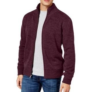 Weatherproof Red Mens Size Medium M Full Zip Mock-Neck Sweater