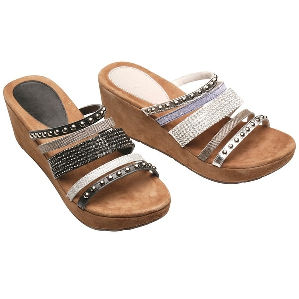 "Women's All About Bling Wedge Sandals - Leather Uppers - 2.5"" Heels"