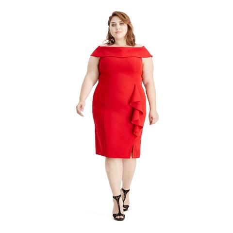 SLNY Red Short Sleeve Below The Knee Dress 20W