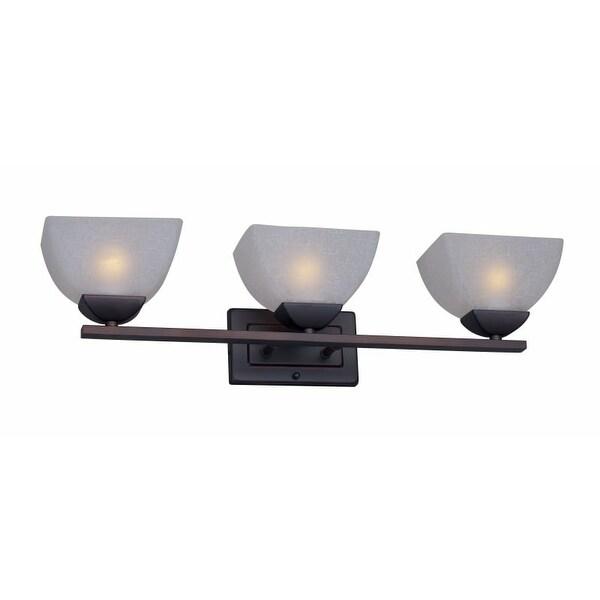 Forte Lighting 5700-03 3 Light Bathroom Vanity Light with White Linen Glass Shades