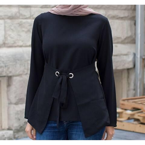 Verona Women's Blouse Solid Black Size XXL Plus Grommet Front Tie