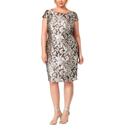 Calvin Klein Womens Plus Party Dress Damask Embroidered