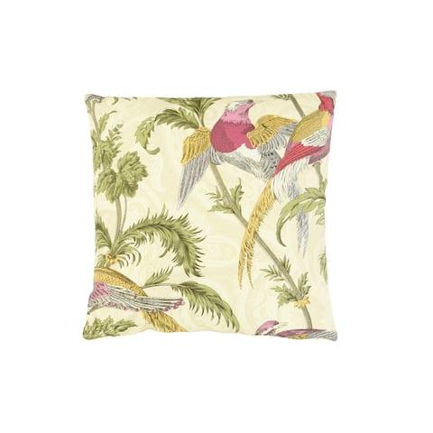 "18"" Square Birds & Botanicals Polyester Pillow"