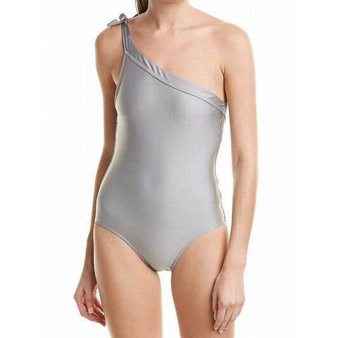 Letarte Silver Womens Size Small S One-Piece One-Shoulder Swimwear