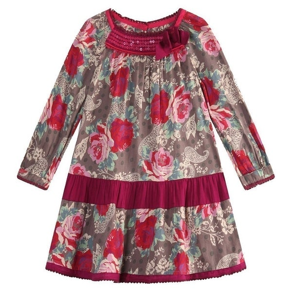 Richie House Baby Girls Red Flower Printed Neck Pearl Embroidery Dress 24M