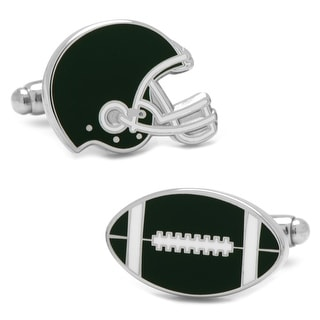 Varsity Football Green and White Cufflinks