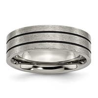 Chisel Enamel Grooved Flat Brushed Titanium Ring (7.0 mm)