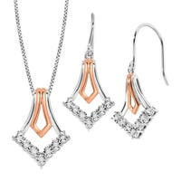 Drop Earrings & Pendant Set with Diamonds in 14K Rose Gold-Plated Sterling Silver