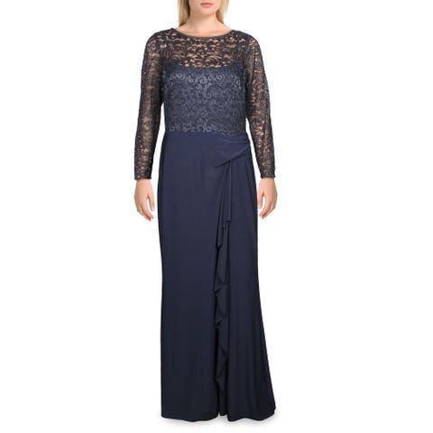 Lauren Ralph Lauren Womens Teige Evening Dress Metallic Gathered - Navy