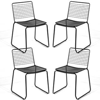 Costway Set of 4 Metal Dining Chair Armless Stackable Slat Seat Patio