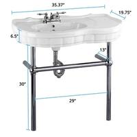 White Vitreous China Console Sink Southern Belle Black Nickel Bistro Legs