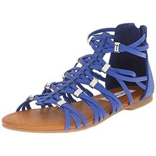 Steve Madden Girls Faux Leather Youth Gladiator Sandals - 2 medium (b,m)