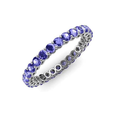TriJewels Tanzanite Gallery Shared Prong Eternity Ring Stackable Gold