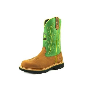 John Deere Lad Men W Round Toe Leather Green Western Boot