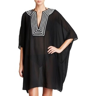 Gottex Womens Contrast Trim Kimono Sleeve Dress Swim Cover-Up