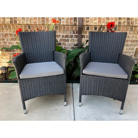 Pentana Resin Wicker Armchairs with Cushions (Set of 2)