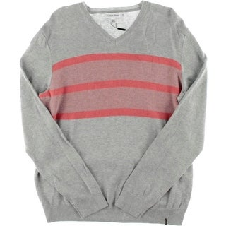 Calvin Klein Mens Knit Bold Stripe V-Neck Sweater