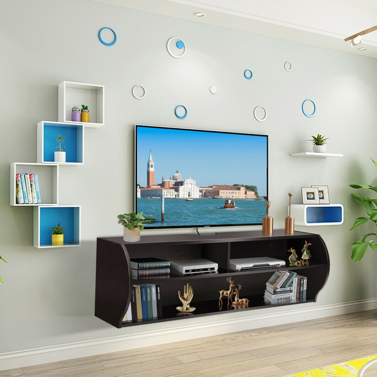 Costway 485 Wall Mounted Audiovideo Tv Stands Console Living Room Furniture Wshelves