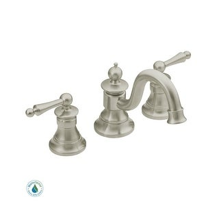 Moen TS418 Double Handle Widespread Bathroom Faucet from the Waterhill Collection - Pop-Up Drain Included