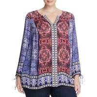 Lucky Brand Womens Plus Tunic Top Printed Long Sleeves