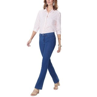 NYDJ Womens Billie Side Slit Mini Bootcut Jeans 10 Spectre Blue 5-Pockets