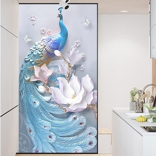 ChezMax Decorative Privacy Window Film No Glue Frosted Glass Film Static Cling Glass Window Sticker Self Adhesive Glass Sticker