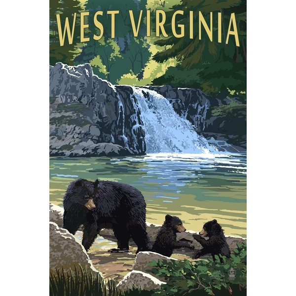 WV - Waterfall and Bears - LP Artwork (100% Cotton Towel Absorbent)