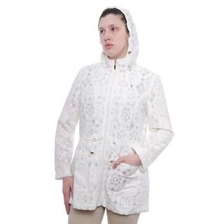 Charter Club Women Lace Hooded Anorak Jacket Utility Cloud