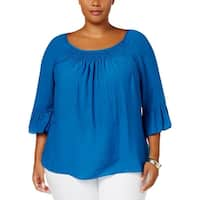 NY Collection Womens Plus Dress Top Smocked Bell Sleeve