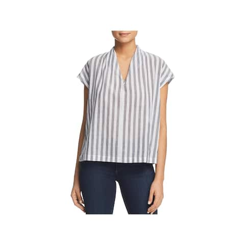 Kenneth Cole Womens Blouse Striped Boxy