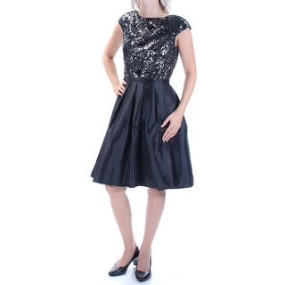 CALVIN KLEIN $199 Womens 2056 Black Cap Sleeve Knee Length Party Dress 6 B+B