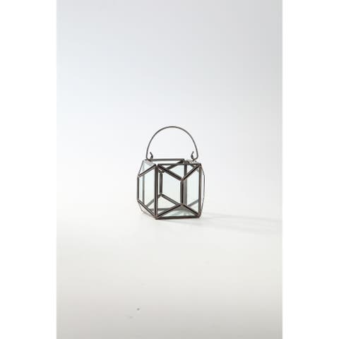"""4.5"""" Clear and Black Terrarium Hanging Glass Planter"""