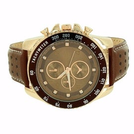 Mens Watch Brown Leather Band 3 Timezone Chronograph Analog Display Stainless Steel Back Quartz Movement