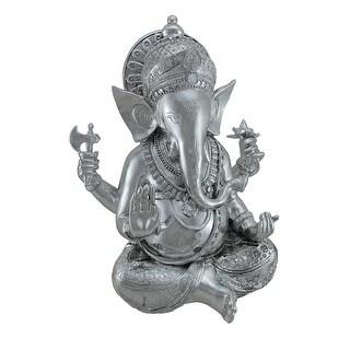 Hindu God Lord Ganesha Chrome Finish Statue 15 in. - Silver