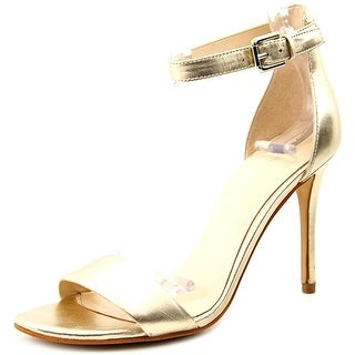 Nine West Mana Women Open-Toe Leather Gold Heels