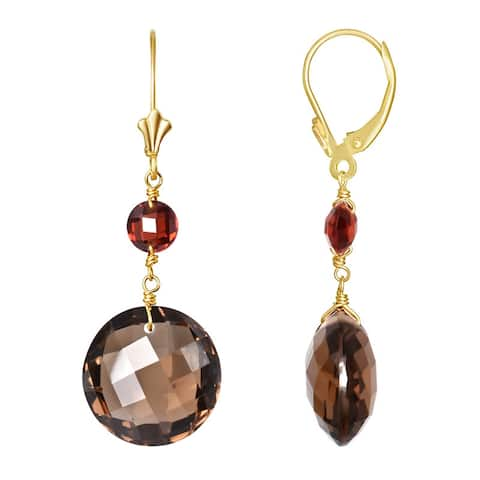 14K Garnet Smoky Quartz Leverback Earring
