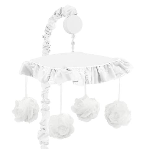 White Floral Vintage Lace Girl Musical Crib Mobile - Solid Velvet Luxurious Elegant Princess Boho Shabby Chic Luxury Glam Flower