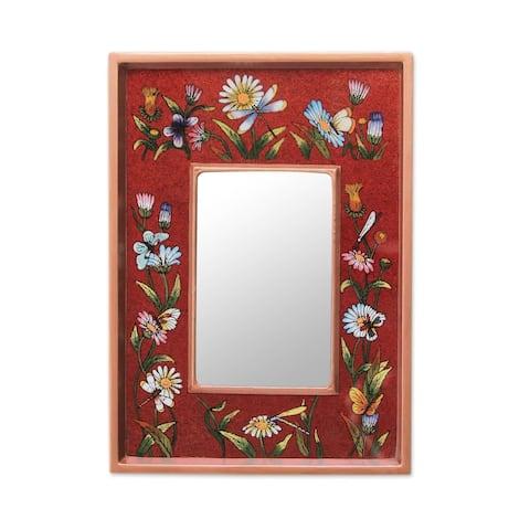 Handmade Reverse Painted Glass 'Scarlet Fields' Wall Mirror (Peru)
