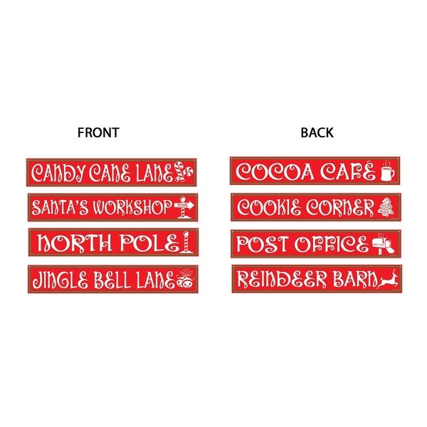 """Pack of 12 North Pole Street Sign Cutout Christmas Decorations 4"""" x 2' - green"""