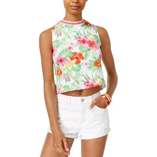 The Edit Womens Juniors Crop Top Hawaiian Floral Print - XL