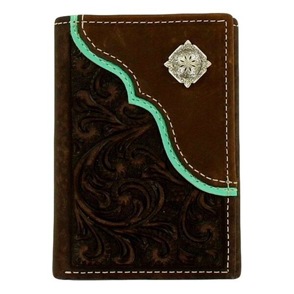Nocona Western Wallet Men Trifold Concho Embossed Slots Brown - 3 x 4 1/8