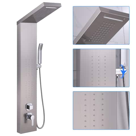 50 in. Shower Panel System and Body Jets in Brushed Nickel