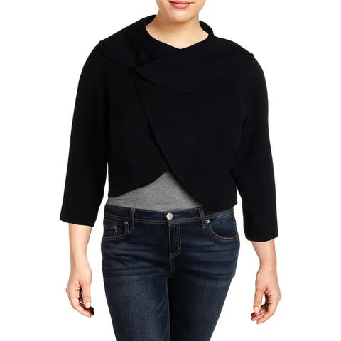 Tahari ASL Womens Plus Cropped Jacket Wrap Office