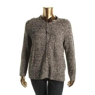 Eileen Fisher Womens Plus Tweed Jewel Jacket