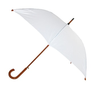 iRain Women's White Auto Open Wood Handle Wedding Umbrella, White