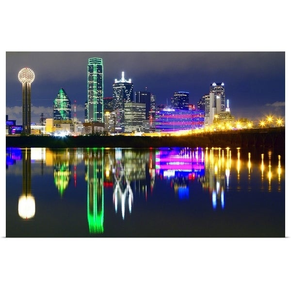 """""""Downtown Dallas skyline reflections in the Trinity River"""" Poster Print"""