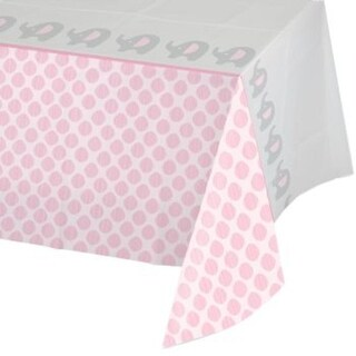 """Pack of 6 Little Peanut Girl Pink Damask Bordered Baby Shower Tablecloths 54"""" x 102"""""""
