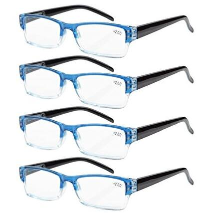 Eyekepper 4-pack Spring Hinges Rectangular Reading Glasses Blue +3.50
