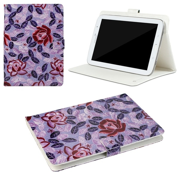 "JAVOedge Peony Leaves Universal 7-8"" Book Case for the iPad Mini, Samsung Tab, Nexus 5, Nook HD (Purple)"
