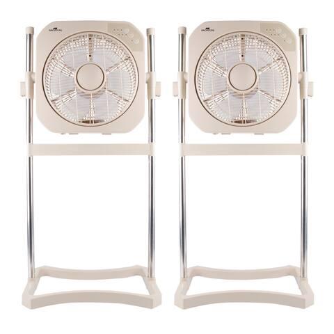 """Air Innovations FAN08 12"""" Swirl Fan with Cord Wrap (Beige, 2 Pack)"""